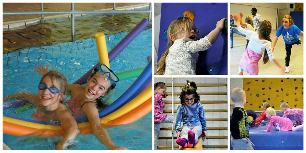 Collage med bilder som viser ulike typer aktivitet