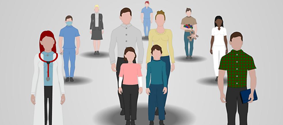 Illustrasjon av person med sjelden diagnose og nettverket rundt