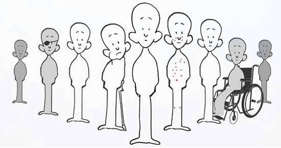 Tegning av en rekke personer med ulike diagnoser