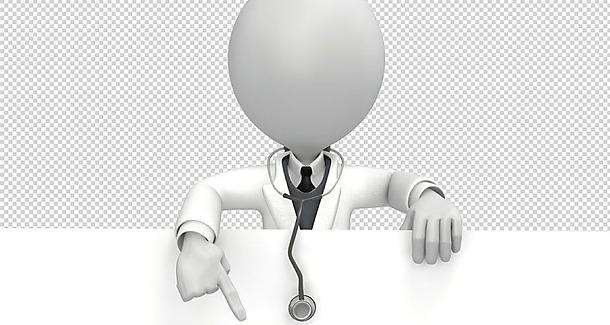 Tegning av en lege som peker på tittelen