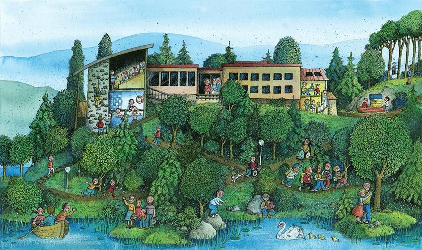Tegning av Frambu med ulike aktiviteter ute og inne