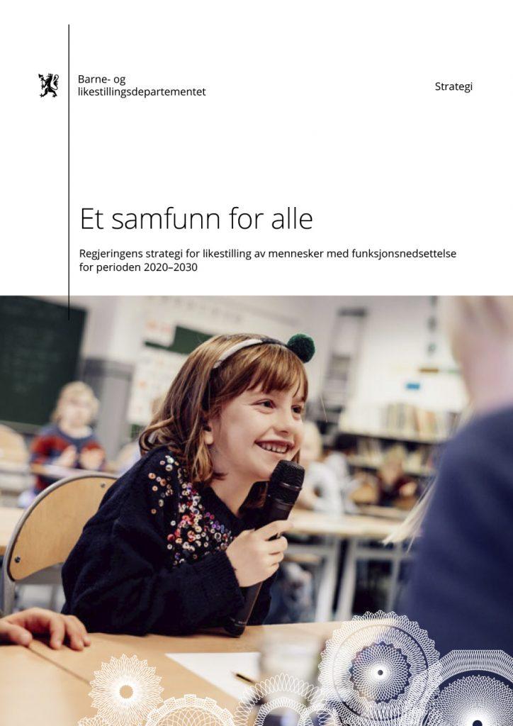 """Bilde av forsiden på strategien """"Et samfunn for alle"""""""