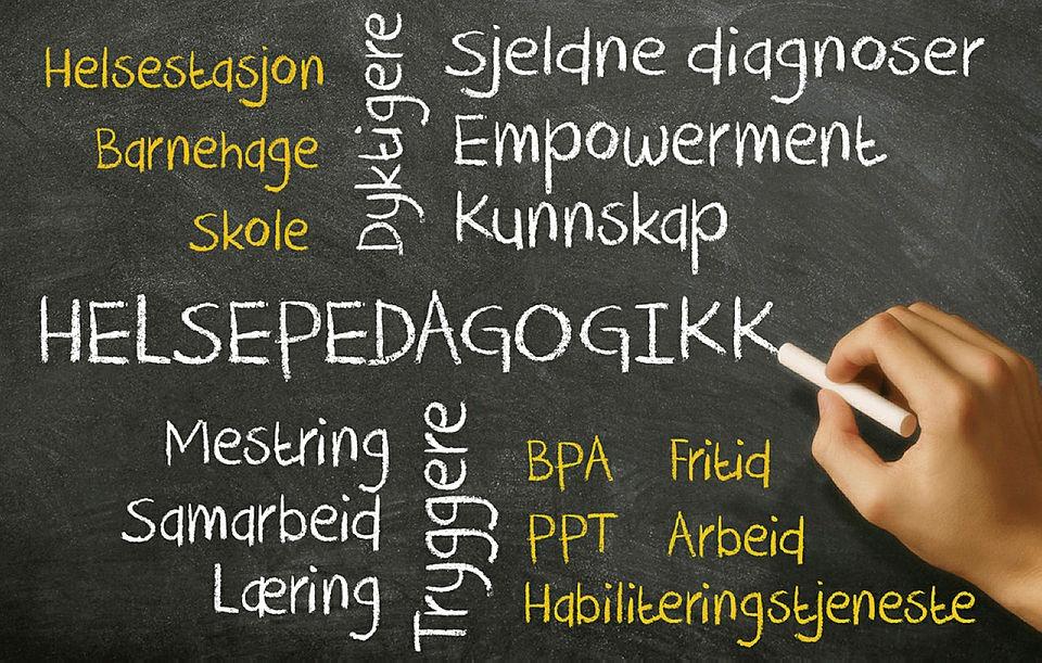 Tekstplakat med ord om helsepedagogikk