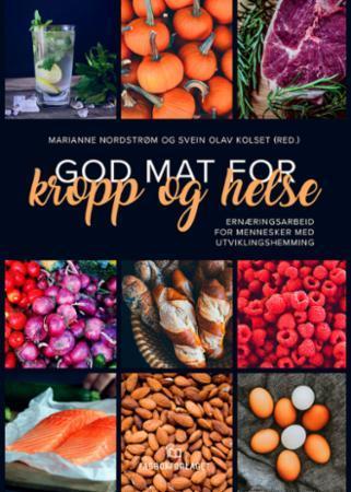 Bilde av bokas forside med bilde av ulike typer mat