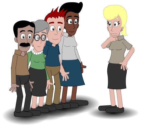 Illustrasjon som viser at en voksen snakker med en gruppe andre voksne