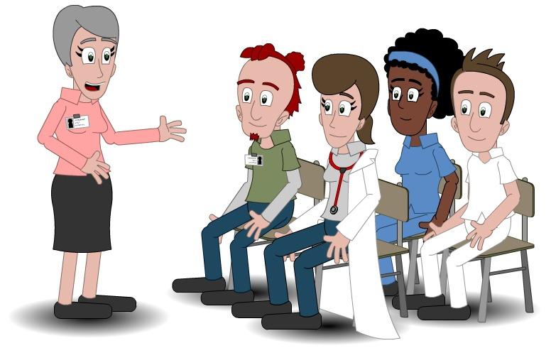 Illustrasjon som viser opplæring av forskjellige tjenesteytere
