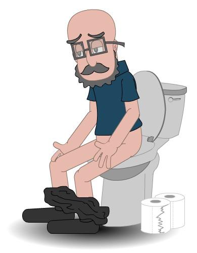Illustrasjon av mann som sitter på toalettet