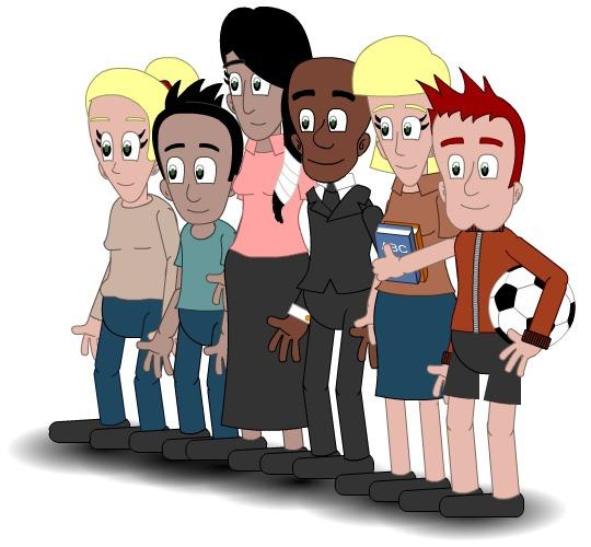Illustrasjon av ungdom med ulike interesser