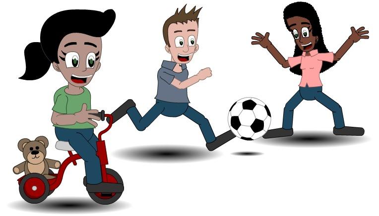 Illustrasjon av barn og unge i aktivitet