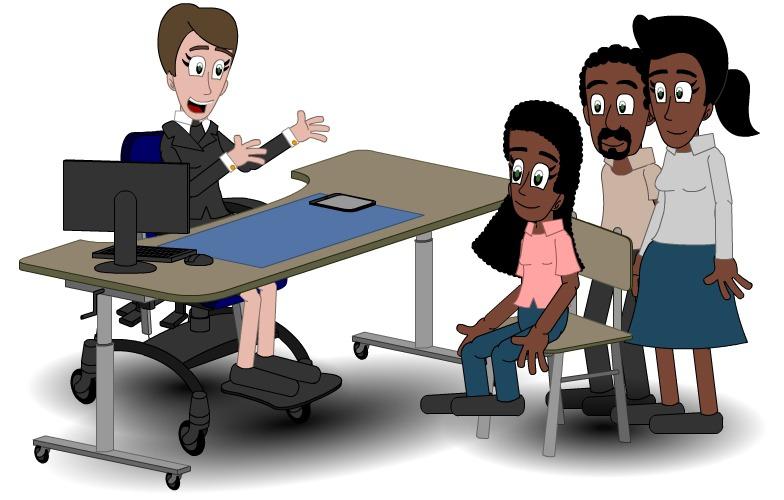 Illustrasjon som viser møte med saksbehandler