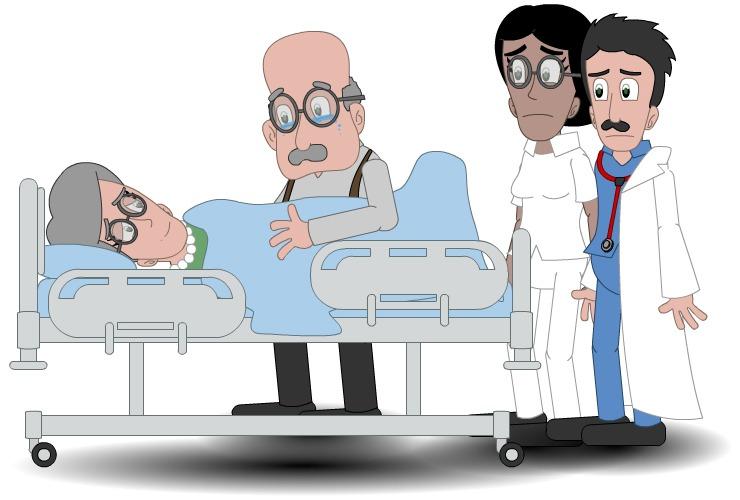Illustrasjon av person på sykehus med fagpersoner rundt