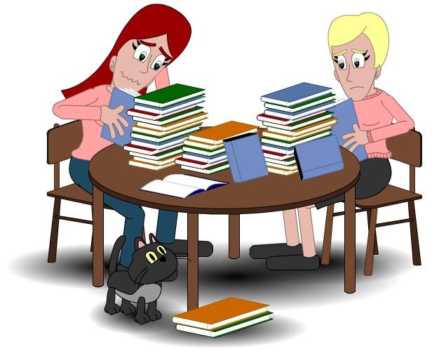 Illistrasjon av to personer med stabler av bøker foran seg