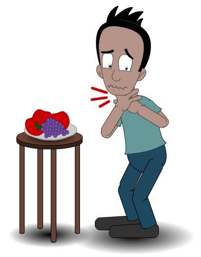 Illustrasjon av mann som slliter med å svelge