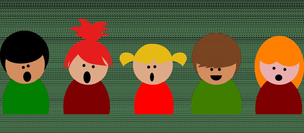 Illustrasjon av barn som synger