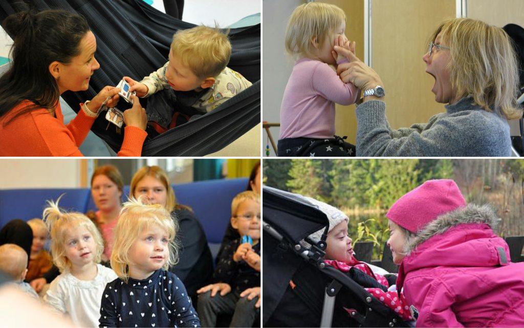 Collage med bilder av barn i barnehage