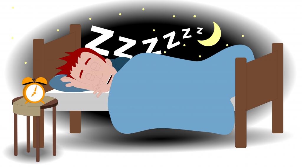 Illustrasjon som viser en person som ligger og sover