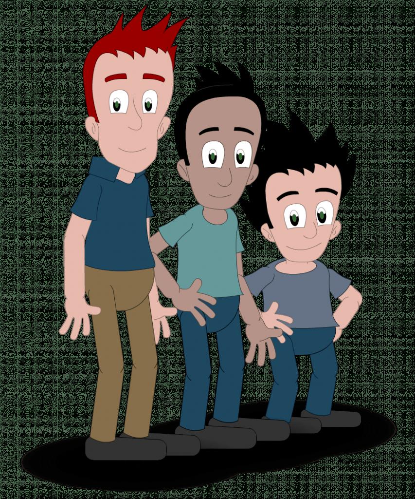Tegning av mann, ungdom og gutt