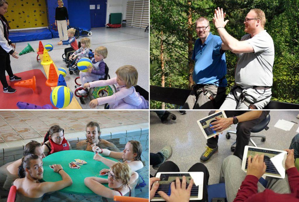 Collage med fire bilder som viser ulike aktiviteter i gymsal, ute og i basseng