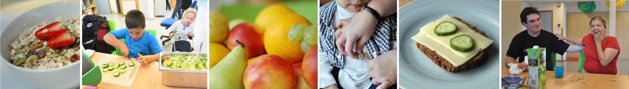 Collage med flere bilder av mat og spisesituasjoner