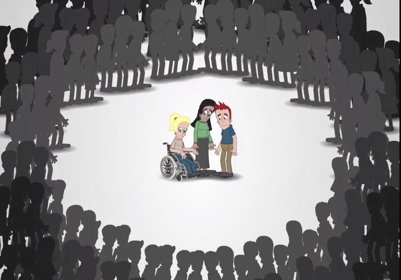 Illustrasjon som viser personer med sjeldne diagnoser som føler seg utenfor fellesskapet